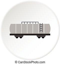 Oil railway tank icon circle