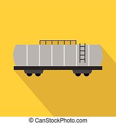 Oil railway tank icon, flat style