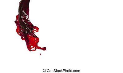 oil. red fluid stream on white background.
