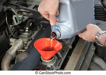 Oil refill - Refilling engine oil of an older car
