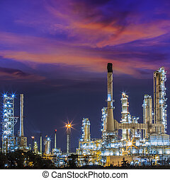 oil refinary industry - Oil refinery at twilight sky