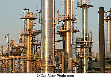 Oil Refinery #4 - The towers and piples of an oil refinery.