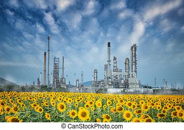 Oil refinery along twilight sky - Oil refinery along morning...