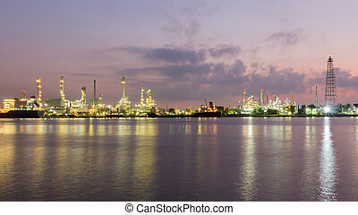 Oil refinery along with river