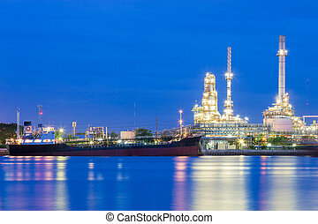 Oil refinery and transportation ship river front