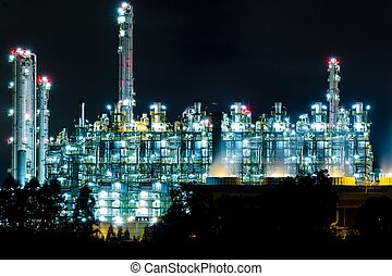 Oil refinery at night in Rayong, Thailand