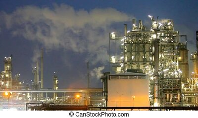 Oil refinery at night - Time lapse