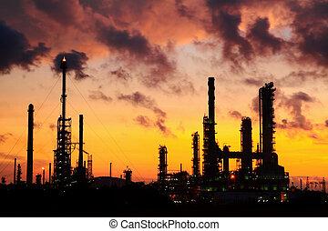 Oil refinery at sunrise.