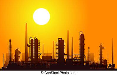 Oil refinery at sunset. Raster illustration.