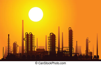 Oil refinery at sunset. Vector illustration.
