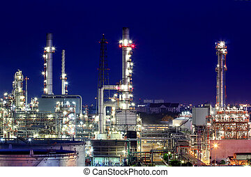 Oil refinery at twilight - The Oil refinery at twilight in...