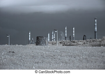 Oil refinery by the road