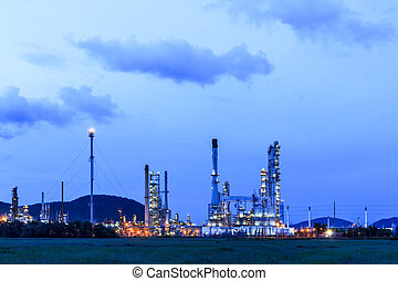 oil refinery, bylina, v, soumrak