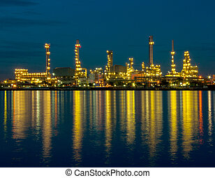 Oil refinery factory at night in Thailand