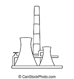 Oil refinery factory icon in outline style isolated on white background. Oil industry symbol stock bitmap, rastr illustration.