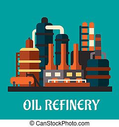 Oil refinery factory in flat style depicting an industrial...