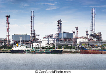 Oil refinery factory - Petroleum oil refinery factory on...