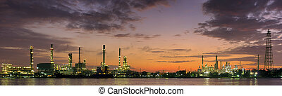 Oil refinery factory - Panoramic oil refinery factory at...