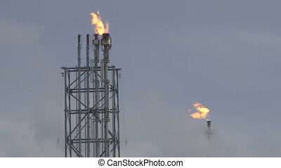Oil Refinery Flares - Oil Refinery near Edmonton, Alberta,...