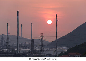 Oil refinery in the evening.