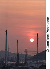 Oil refinery in the evening,photography on sunset.