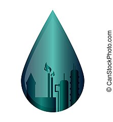 oil refinery in water drop icon - flat design oil refinery...