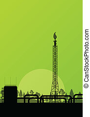 Oil refinery industrial factory landscape illustration ...