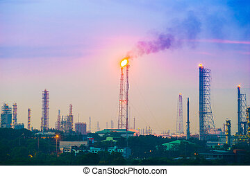 Oil refinery industrial plant with sky