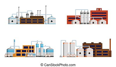 Oil refinery industry building. Set of petrochemical...