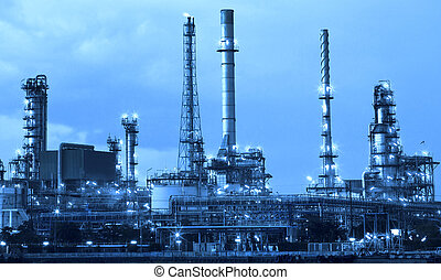oil refinery industry in metalic color style use as metal ...