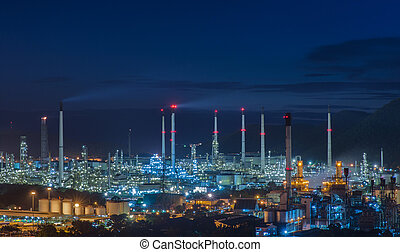 oil refinery industry plant and port along the morning...