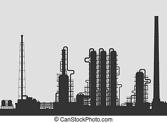 Oil refinery or chemical plant silhouette. Detailed vector...