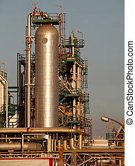 Part of an oil refinery and power plant - late evening light