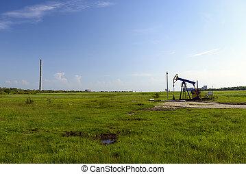 oil refinery plant against blue sky