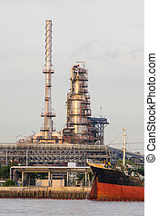 Oil refinery plant along the river