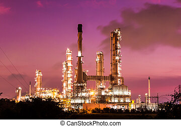 oil refinery plant and smoke at twilight morning - oil...
