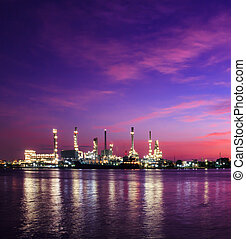 Oil refinery plant at twilight morning - Oil refinery plant...