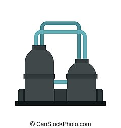 Oil refinery plant icon, flat style