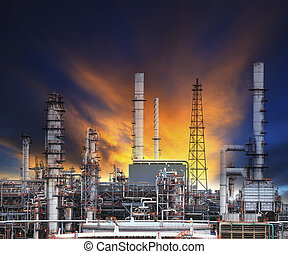 oil refinery plant in heavy industry estate against beautiful du