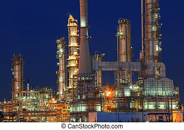 oil refinery plant in petrochemical industry estate at night tim