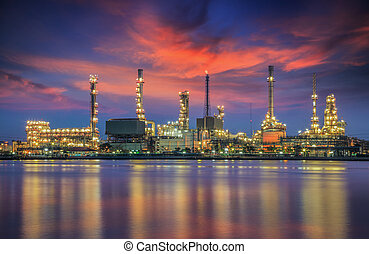 oil refinery plant - oil refinery industry plant at twilight...