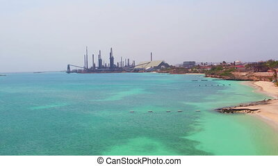 Oil refinery plant on Aruba - Aerial from oil refinery plant...