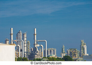 oil refinery, průmyslový nechat na holičkách, s, nebe
