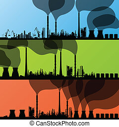 Oil refinery station background vector and harbor