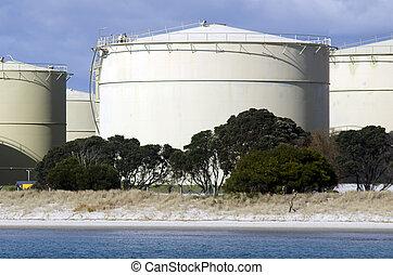 Oil Refinery - WHANGAREI,NZ - JULY 28:Oil tanks in Marsden...