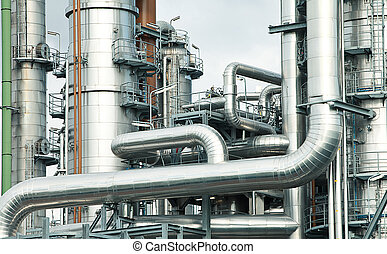 oil refinery - metal pipelines petrochemical industry with a...
