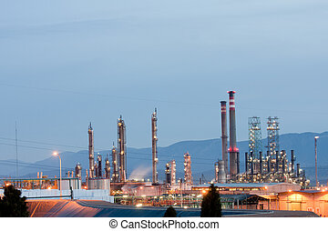 Oil refinery - Panoramic view of an oil refinery at night