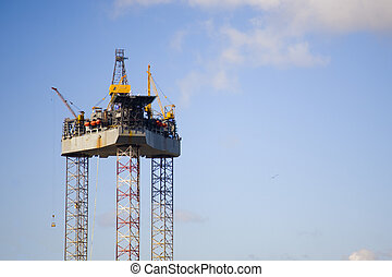 An oil rig under construction