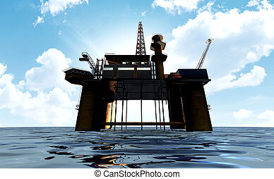 A regular view of an oil rig out at sea on a blue cloudy sky background