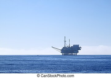 oil rig - an offshore oil drilling platform near Ventura...